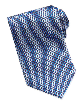 Wide Basket-Weave Pattern Tie, Blue
