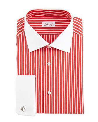 Contrast-Collar Bengal-Stripe Shirt, Coral