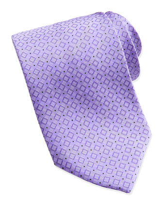 Wide Diagonal-Boxes Pattern Tie, Lavender