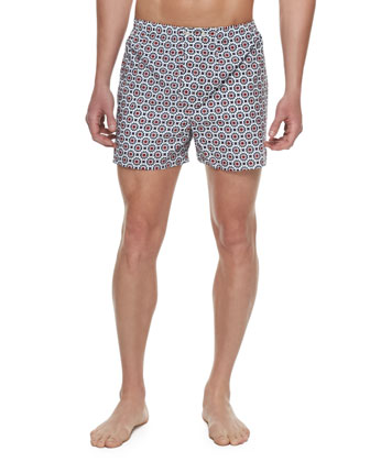 Nelson Floral-Print Boxer Shorts, Navy