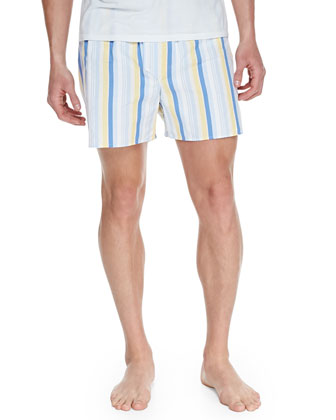 Striped Cotton Boxer Shorts, Yellow
