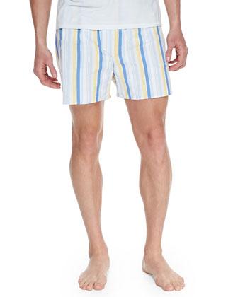 Striped Cotton Boxer Shorts, Yellow
