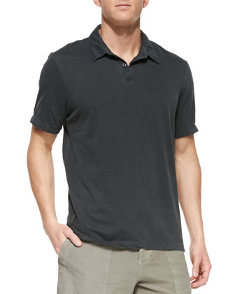 Sueded Jersey Polo Shirt, Charcoal