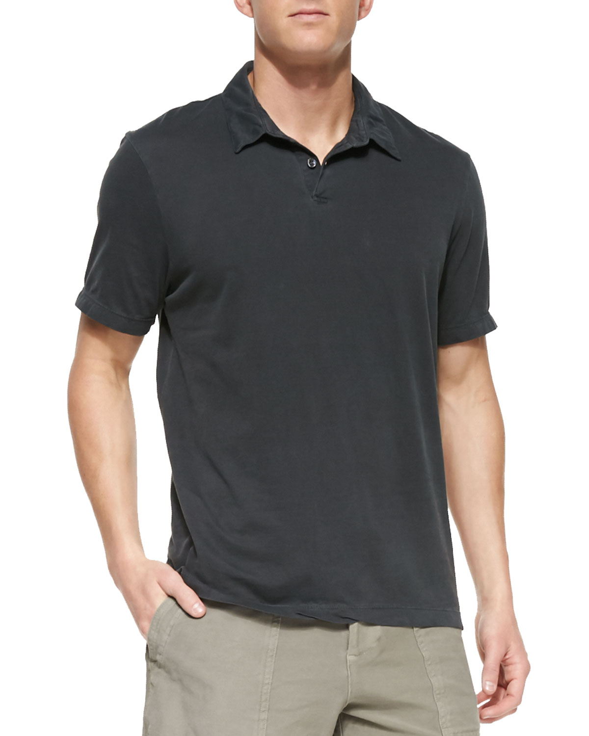 Mens Sueded Jersey Polo Shirt, Charcoal   James Perse   Charcoal (4)