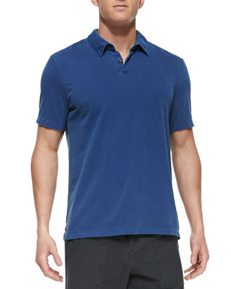 Sueded Jersey Polo Shirt, Blue