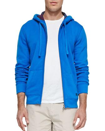 Fleece Zip Hoodie, Blue