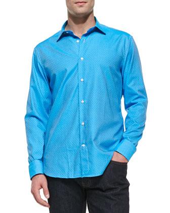 Square-Dot Button-Down Shirt, Light Blue