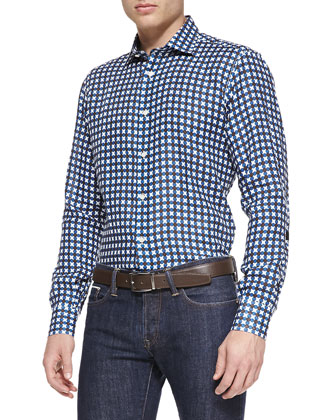 Linen Dot-Pattern Shirt, Blue
