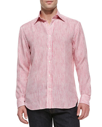 Striped Button-Down Linen Shirt, Pink