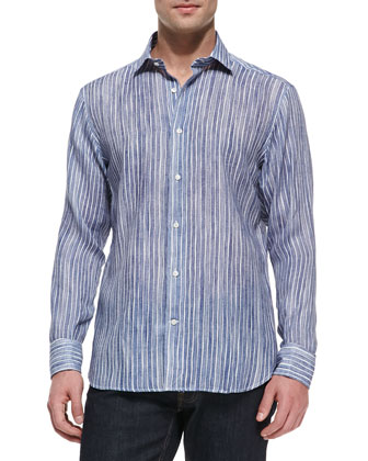 Striped Button-Down Linen Shirt, Blue