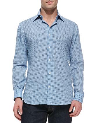 Diamond-Circle-Print Woven Shirt, Blue