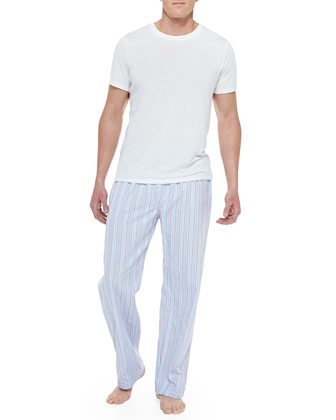 Stowe Stripe Pajama Pants, Blue/Red