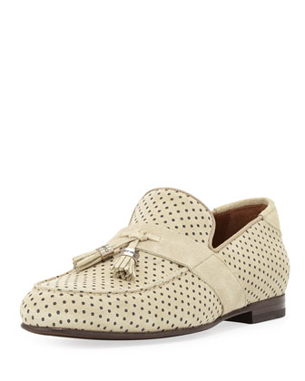 Bevan Polka-Dot Suede Loafer, Pistachio/Brown