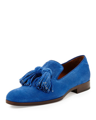 Foxley Men's Tassel Suede Loafer, Royal Blue