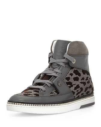 Barlowe Men's Studded High-Top Sneaker, Gray/Brown