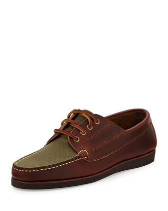 Falmouth USA II Boat Shoe, Brown/Olive