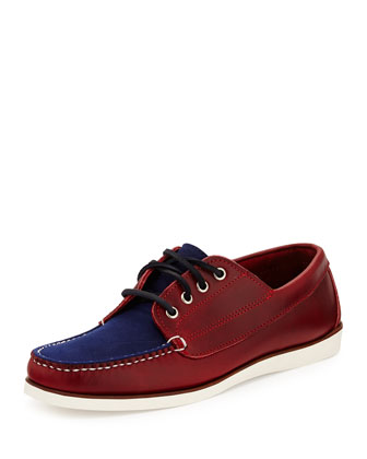Falmouth USA II Boat Shoe, Crimson/Navy