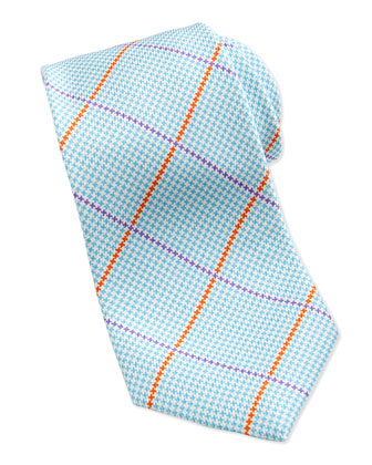 Houndstooth-Print Striped Silk Tie, Aqua