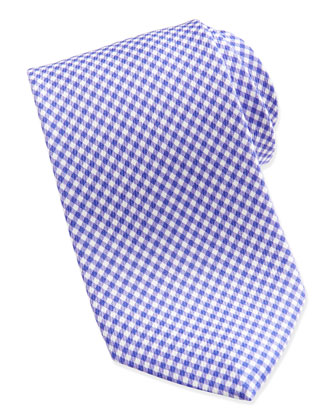 Gingham Check Silk Tie, Purple