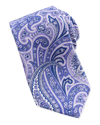 Paisley Pattern Silk Tie, Purple