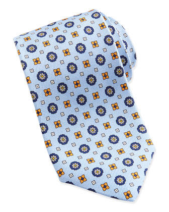 Flower-Medallion Pattern Silk Tie, Lt. Blue