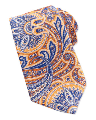 Paisley Pattern Silk Tie, Orange