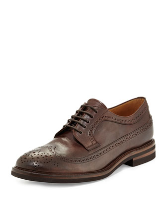 Leather Long-Wing-Tip Shoe, Brown