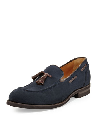 Tassel Suede Loafer, Navy