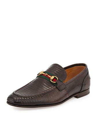 Elanor Lizard Horsebit Loafer, Brown