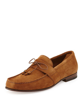 Suede Bamboo-Tie Shoe, Brown