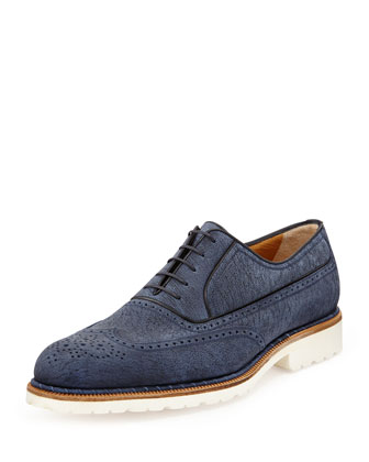 Rubber-Sole Wing-Tip Oxford, Navy