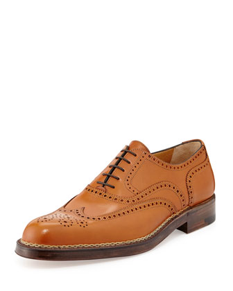 Norvegese Calfskin Wing-Tip Oxford, Tan