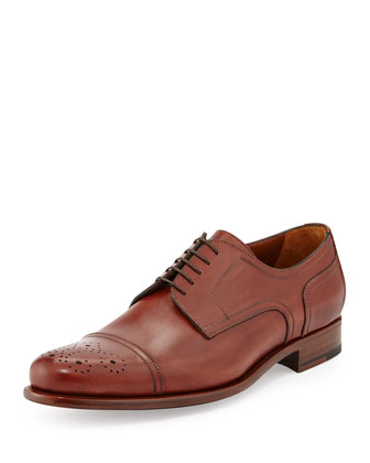 Calfskin Cap-Toe Derby Shoe, Black