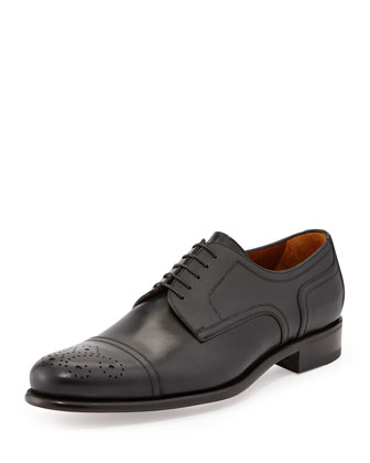 Calfskin Cap-Toe Derby Shoe, Brandy