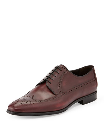 Leather Wing-Tip Derby Shoe, Dark Brown