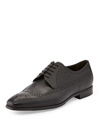 Leather Wing-Tip Derby Shoe, Black