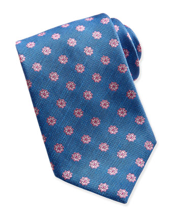 Floral-Neat Woven Tie, Blue