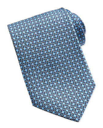 Circle-Link Silk Tie, Blue
