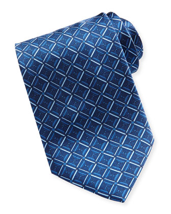 Geometric-Diamond-Print Silk Tie, Blue
