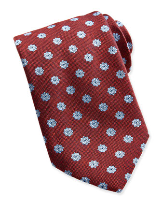 Floral-Neat Woven Tie, Burgundy