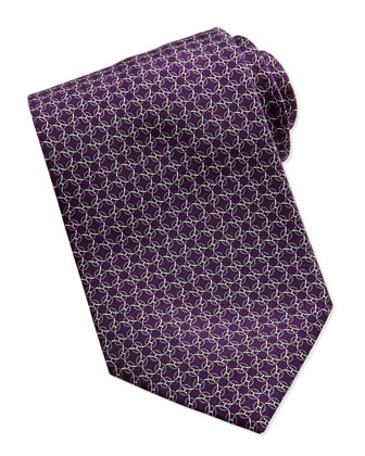 Circle-Link Silk Tie, Purple