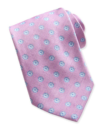 Floral-Neat Woven Tie, Pink
