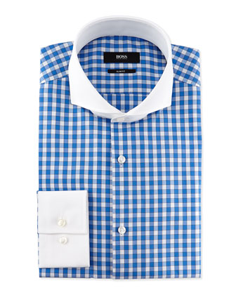 Slim Fit Contrast-Collar Check Dress Shirt, Light Blue