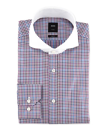 Slim Fit Contrast-Collar Mini-Check Dress Shirt, Purple