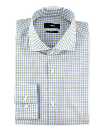 Slim-Fit Check Dress Shirt, Blue/Green