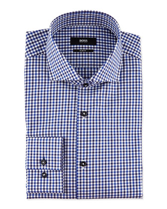 Slim-Fit Plaid Dress Shirt, Blue/Black
