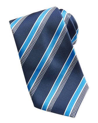 Mixed-Stripe Tie, Navy/Blue