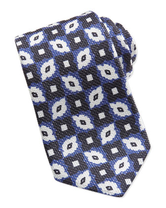 Floral-Pattern Tie, Blue/Navy