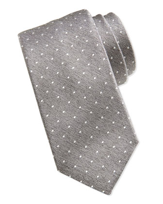 Swiss Dot Tie, Light Gray/White