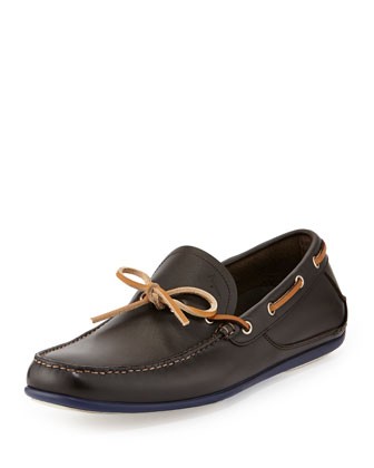 Mango Leather Boat Shoe, Dark Brown